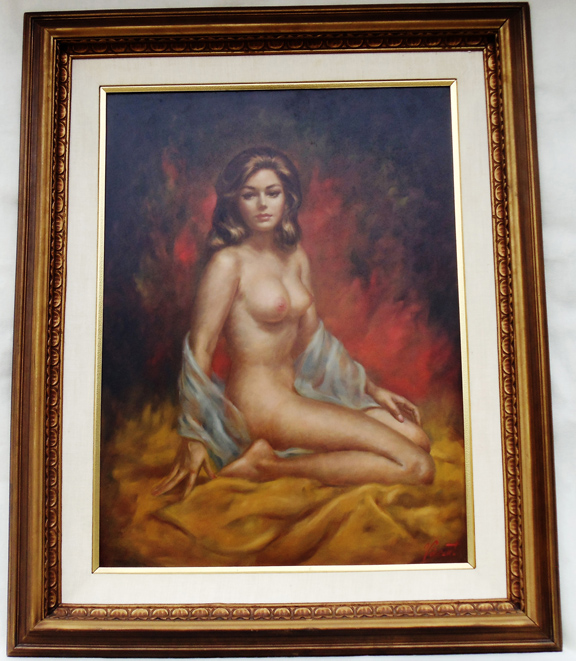 Nude painting signed vincent wife